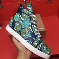 Wholesale with Original box Exclusive new high quality fashion Men Women green Snakeskin high top casual shoes Tassel Boots with EU bottom