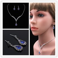 accessories dinner sets - 2017 high grade blue crystal necklace earring sets of chain romantic bride woolly diamond wedding dinner accessories