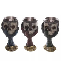 goblet - Resin Stainless Steel Drinking Mug D Multi Skull Spine Goblet Horror Decor Cup for Halloween Bar Party Red Wine Glass