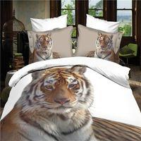 Wholesale reactive d lion tiger cot bedding set duvet doona cover bed sheet pillow cases queen size velvety bedclothes