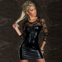 Wholesale Owlprincess Women s Sexy Lace Lingerie Hot Transparent Erotic Bodysuit Bright Faux PU Leather Ladies Bodysuit Plus Size XL