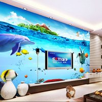 Wholesale 3D Wall Mural Underwater World Photo Wallpaper Cute Dolphin Fish Wallpaper Modern Interior decoration Kid Bedroom self adhesive wallpaper