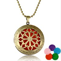 Wholesale 2016 New aromatherapy necklaces Hollow out necklaces essential oil diffuser beauty necklaces Hot perfume pendant Copper phase box female