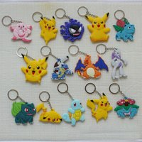 Wholesale Double Sided Anime Silicone Key Rings Styles Cut Cartoon Pikachu Squirtle Gengar Charmander Bulbasaur Jigglypuff Soft Rubber Keychains