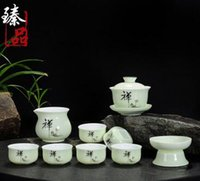 best china tea - The best Longquan celadon tea set Green thin foetus bone China kung fu tea ice crack kiln teapot