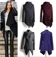 Cheap 2016 Fall Winter Clothes for Women New European and American Wool & Blends Coats Ladies Trim Personality Asymmetric Rules Short Jacket Coats