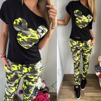 basketball mouse - women sport suit set Fashion hot selling mouse Camouflage print casual trousers set women s summer