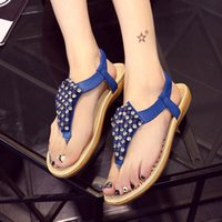 beauty tied - 2016 Korean new fashion flat sandals toe diamond Bohemia Rome slip beauty women sandals
