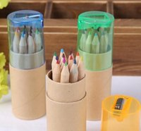 Wholesale Kraft paper with color pencil color pack with a pencil sharpener cover drawing color lead