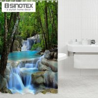 Wholesale 180X200CM Waterfall Scenery Waterproof Shower Curtain Bathroom Products Creative Polyester Bath Curtain
