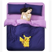 Wholesale home decoratioin textile cartoon pikachu poke printed bedding set sheet cover