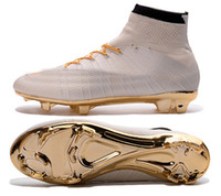 Wholesale 2016 newest white gold molten lava Mercurial Superfly FG CR7 mens soccer shoes football boots outdoor Football Soccer Cleats size