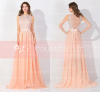 Wholesale Peach Pink Long High Neck Cheap Prom Dresses Sexy Lace Real Image Backless Sheer Glitz In Stock Formal Evening Bridesmaid Gowns BZP0530