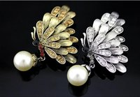 Wholesale Vintage Gold Silver Brooch Pins Simulated Pearl Rhinestone Butterfly Brooches For Women Accessory