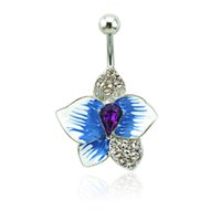 bell flower plant - Brand New Belly Button Rings L Stainless Steel Barbells Blue Enamel Flower Navel Body Piercing Jewelry