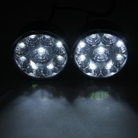 Cheap 2pcs set 12V 2x 9LED Round Daytime Driving Running Light DRL Car Fog Lamp Car Headlight White Driving Lamp 1set