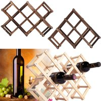 Wholesale Classical Wooden Red Wine Rack Bottle Holder Mount Kitchen Bar Display Shelf High Quality