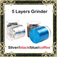 Wholesale 5 Piece Herb Grinders mm Aluminium Alloy Metal Grinder Clear Top Cover herb Mill Petal Sharp Tooth Black Silver Blue Coffee Grinders