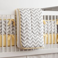 Wholesale Light Grey Pieces Set Crib Bedding Baby Bedding Set Chevron Baby Nursery Crib Bumper Quilt Fitted Sheet Cotton