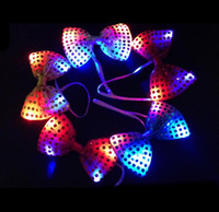 Wholesale DHL led bow tie kids adult Multicolor Bowknot flashing tie light up toys for party decoration supplies