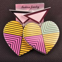 Wholesale Big Acrylic Colorful Striped Triangle Heart Stud Earrings Female European Fashion Personality Club Jewelry Accessories