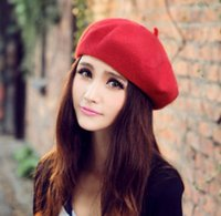 artist beach - Lady Girl Beret Drawer Painter Woolen Artist Cap Autumn Winter Princess Hat Red Black Yellow Headwear