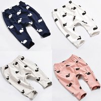 Wholesale 2016 Baby Kids Girls Boys casual pants Cute Whale logo Printed personalized children set Cotton babies top Trousers Leggings