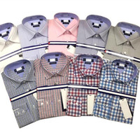 Wholesale Mens shirt New Leisure business Striped Plain Plaid camisa masculina White Pink Plus Szie XXL cheap clothes china