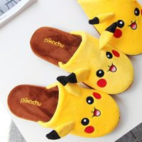 Wholesale New poke Plush Slipper Shoes pikachu Soft Warm Household Winter Slippers for women and man C1394