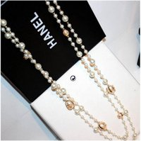 Pearl asian loop - New fashion white pearl Necklaces Delicate Europen and America Loop long Sweater Chain bride pearl Necklace ZZS106