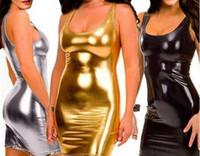 al por mayor ropa de látex xl-El traje de cuero atractivo negro del club del látex del vestido del negro de las mujeres viste la ropa El PVC Catsuits de la ropa interior del gato se adapta a productos del sexo