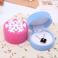 Wholesale Lovely Snowflake Velvet Rings Necklace Jewelry Display Gift Box Christmas New Year Gifts Jewelry Boxes Case Container