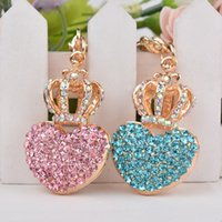Wholesale 2016 Fashion KeyChains Korea love diamond crown Zinc Alloy Key Ring Bags and Car Ornaments For Women Jewelry Accessories