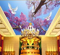 Wholesale 3d wallpaper custom photo non woven mural wall sticker Cherry blossom blue sky dove ceiling mural painting d wall room murals wallpaper