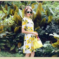 Wholesale Designer Lemon Printed Dress Real Silk Womens Clothing Street Style High Quality Wedding Party Skirt Summer Ladies Floral Tutu Short Sleeve