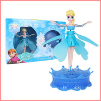 Wholesale Frozen Induction Elsa Aircraft Flying Barbie Fairy Toys Controlled Infrared Induction Balance Aircraft Electronic toys Best Gift for kids