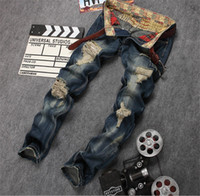 Wholesale New Mens Ripped Hole Jeans Cotton Brand Designer Destroyed Mens Regular Patch Jeans Pants Distressed Jean Joggers Men Pants