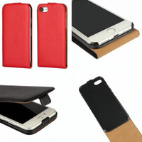 Wholesale Smoothing Plastic Phone Case - For Iphone 7 Plus 7G I7 7TH 7Plus 6 6S I6S Genuine Flip Leather Pouch Case Real True Vertical Plain Cell phone Smooth Hard Cover skin Luxury