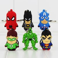 batman collectables - The Avengers Captain America Spiderman Batman Superman Hulk Keychain PVC Figure Collectable Modle toy for kids gift