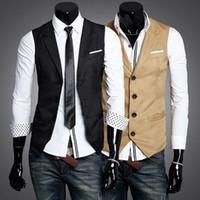 Wholesale Spring Fashion Solid Slim Fit Turn Down Collar Men Dress Suit Vests Mans Overcoat XXL two colors