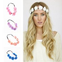 Wholesale 5 Colors A Pack Blending Travel Pictures Hair Bands Beautiful Headdress Bride Wedding Simulation Flower Hair Band