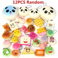 animal scent - 12pcs set Random Squishy Kit Bread Scented Panda Toast Cone Hamburger Turtle Phone Straps Keychain Kids Gift Collectible