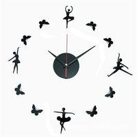 ballet mirrors - 32x32cm Modern Fashion DIY Large Wall Mirror Clock D Sticker Quartz Ballet Football Clock Home Wall Decor