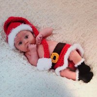 Wholesale Hot Newborn Baby Christmas Santa Knitted Crochet Costume Photo Photography Prop