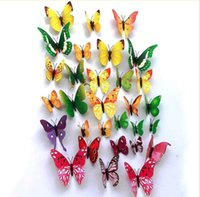 Wholesale Room Butterfly Decoration colorful Living room bedroom D Butterfly Wall sticker PVC Wall paster stickers kids children gifts JF