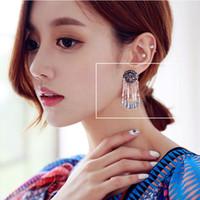 Wholesale Tibet tassel earring Full diamond personality retro round temperament