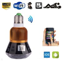 Wholesale 12MP HD WIFI SPY Hidden Wireless IP P2P Camera Lamp Bulb Cam DVR Security CCTV Camera w LED Lights
