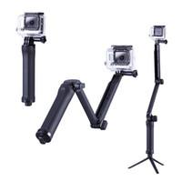 Al por mayor-3 Way plegable Monopod para GoPro Accesorios extensible del trípode selfie palillo para Go Pro héroe 4 3 3 + 2 SJ4000 cámara de la acción
