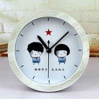 Wholesale Rural Youth learn inspirational nostalgic wood color alarm clock fashion creative pastoral Desktop seat watch