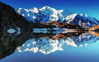 alps lighting - France Alps Mont Blanc white mountains lake reflections mirror Canvas Poster Print x36 inch art silk poster Wall Decor